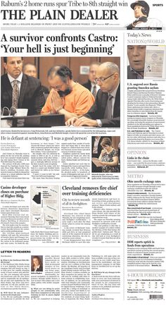 """""""Your hell is just beginning"""" for Ariel Castro atop the Cleveland Plain Dealer"""