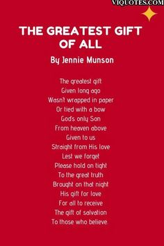 The greatest gift of all poem - Christmas poems for kids day 1 Thank you so much for all your support this year! You are the very reason why our business is thriving. Kids Christmas Poems, Christmas Skits, Christmas Card Verses, Christmas Prayer, Christmas Program, Christmas Concert, Christmas Messages, Childrens Christmas, A Christmas Story