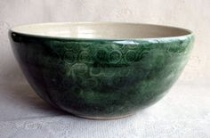 Handmade Salad, mixing, erving bowl, textured dark green, pottery ceramic stoneware clay, six colors to choice from.