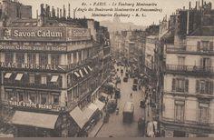 Vue de l'entrée de la rue du Faubourg-Montmartre, vers 1910, avec à gauche le boulevard Montmartre et, à droite, le boulevard Poissonnière  (Paris 9ème)