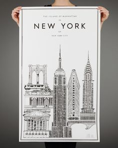 New York poster. Various NYC architecture. New York Poster, A New York Minute, I Love Ny, Concrete Jungle, Travel Posters, Decoration, New York City, Poster Prints, Graphic Design
