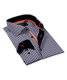 Levinas Black & Orange Gingham Button-Up - Men's Regular Shirt Types, Types Of Shirts, Men Shirts, Gingham, Button Up, Men's Fashion, Orange, Pattern, Cotton