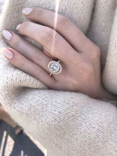 Engagement rings, rose gold, beautiful, oval halo.