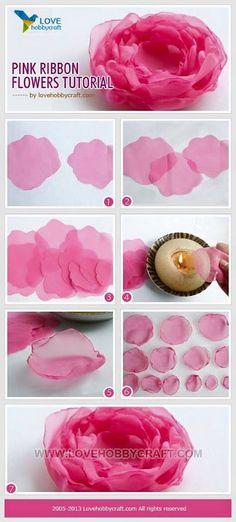 Wonderful Ribbon Embroidery Flowers by Hand Ideas. Enchanting Ribbon Embroidery Flowers by Hand Ideas. Ribbon Art, Fabric Ribbon, Ribbon Crafts, Flower Crafts, Fabric Crafts, Diy Ribbon, Organza Ribbon, Ribbon Rose, Handmade Flowers