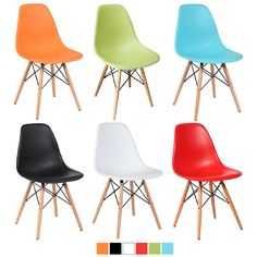 Eames Style DSW Wood Base Mid Century Modern Shell Dining Side Chair, Set of 2 #Onebigoutlet