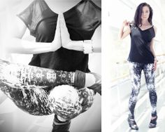 Lola Tank in Black, and Kata Tight in #kaleidoscope. #sheer #print #yogafashion #karma #karmawear #yoga #detail