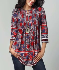 Love this Reborn Collection Gray Floral Notch Neck Pin Tuck Tunic by Reborn  Collection on   bc9ead23022b4
