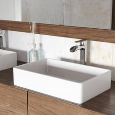 Vigo Vessel Sinks Matte White Matte Stone Vessel Rectangular Bathroom Sink With Faucet (Drain Included) Vessel Faucets, Vessel Sink Bathroom, Bathroom Faucets, Bowl Sink, Modern Bathroom, Bathroom Ideas, Bathroom Plans, Master Bathrooms, Bathroom Inspo