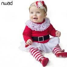 Kids Christmas Clothes Set 2016 Spring Autumn Toddler Girls Clothing Sets Red Striped Long Sleeve Striped Outfits Costume CF330(China (Mainland))