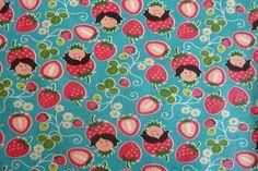 Popeline Hamburger Liebe Strawberry Picking türkis von PinkPeppa auf DaWanda.com