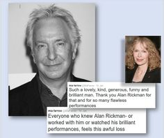 January 14, 2016 - Mia Farrow remembers Alan Rickman