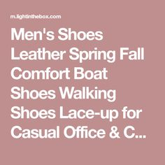 Men's Shoes Leather Spring Fall Comfort Boat Shoes Walking Shoes Lace-up for Casual Office & Career Brown Red Green 2018 - $39.99