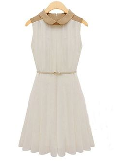 White Belt Lapel Sleeveless Chiffon Dress