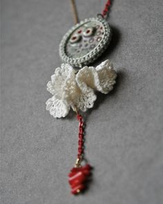 crochet and ceramic necklace | by MarianneS