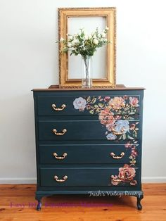 What a pretty dresser by Trish's Vintage Revamp. She used prima redesign transfe. - What a pretty dresser by Trish's Vintage Revamp. She used prima redesign transfer Rose & Rouge by - Decoupage Furniture, Paint Furniture, Repurposed Furniture, Furniture Projects, Furniture Makeover, Vintage Furniture, Furniture Decor, Furniture Legs, Barbie Furniture