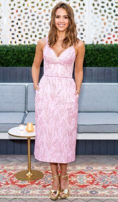 JESSICA ALBA in a pink Ulyana Sergeenko dress with gold Stuart Weitzman platform heels at an InStyle magazine dinner celebrating Alba's July cover.