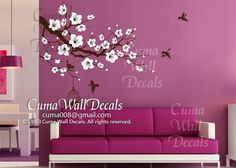 tree wall decals flower vinyl wall decals birdcage wall mural wall sticker nursery nature- flower tree Z157 cuma. $55.00, via Etsy.