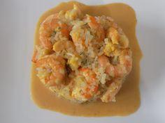 Ingrédients: 1 demi oignon sachet de riz de konjac 2 cuillères à soupe de vin blanc sec Sel et poivre 1/2 cuillère à café de curry 300 g de crevettes décortiquées 1 cuillère à soupe de crème à 4% 15g de rapé bridelight Préparation: Peler et émincer l'oignon...
