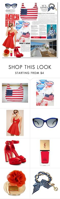 """""""Red Wednesday: A 4th of July with Blue"""" by thefabulousfashionblog ❤ liked on Polyvore featuring LULUS, Alexander McQueen, Yves Saint Laurent, Coach, Victoria's Secret, Betsey Johnson and House & Home"""