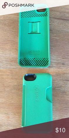 Speck case for iPhone 5 Green Speck phone case for iPhone 5. Back side has card holder for up to 3 cards. Speck Accessories Phone Cases