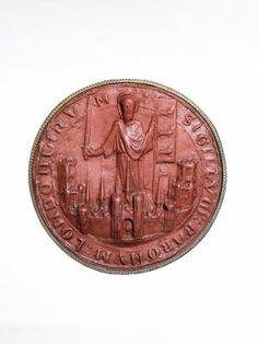 Seal of London, showing St. Paul standing with sword and banner (the three lions representing England) with church spires and city walls. Medieval World, Medieval Town, London Free Museums, European History, 12th Century, Writing Instruments, Wax Seals, Pilgrim, Middle Ages