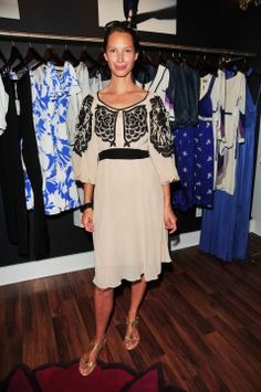 Christy Turlington wearing the Mini Seraphine Dress at the Shop for Care event in South Hamptons, New York.
