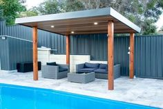 Having a pool sounds awesome especially if you are working with the best backyard pool landscaping ideas there is. How you design a proper backyard with a pool matters. Backyard Pool Designs, Swimming Pools Backyard, Pool Landscaping, Patio Design, Pool Gazebo, Backyard Pergola, Pergola Ideas, Pergola Kits, Cheap Pergola