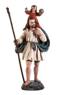 Höhe: 78 cm. 17./ 18. Jahrhundert. Standfigur im Kontrapost auf einer als Wasserwelle geschnitzten Sockelbasis stehend. Das rechte Spielbein leicht...