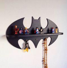 Wooden shelf Batman 177 in x 95 in 3 hooks by Purplepollen