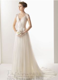 free shipping 2013 elegant V-neck white long princess sweetheat lace short sleeve empire waist beach wedding dresses bridal gown US $159.00