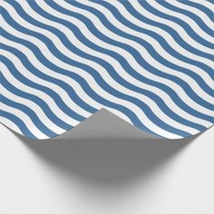#stripes - #White Blue Wave Navy pattern Customize background Wrapping Paper