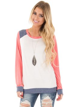 Lime Lush Boutique - Coral Color Block Long Sleeve Top, $29.99 (http://www.limelush.com/coral-color-block-long-sleeve-top/)