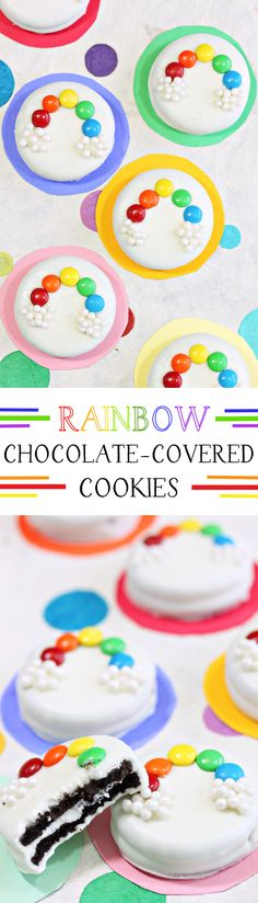 Rainbow Chocolate Covered-Cookies. Oreos dipped in white chocolate, and decorated with mini M&M rainbows! So cute and easy for St. Patrick's Day! | From candy.about.com