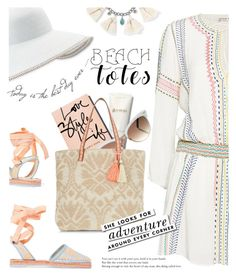 """Beach Tote"" by dixiebelle81 ❤ liked on Polyvore featuring Alice + Olivia, Sophia Webster, Eric Javits, Gucci, New Look, Chan Luu, Kate Spade and Zephyr"