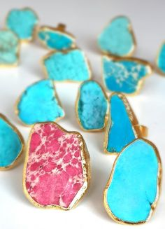BOHO RING Turquoise Colored Sea Sediment Jasper Blue Green or Pink adjustable Ring Connector Gold Plated  Healing Stones Chakra Wiccan gift under 25 jasper ring pendant sediment jasper sea jasper jasper charm natural stone Jewelry supplies healing crystals boho rings birthstone love ring adjustable ring bridesmaid gift 24.50 USD #goriani