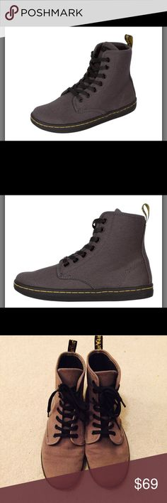 Grey SHOREDITCH Dr. Martens Canvas Boot Worn few times. Good condition. Extremely comfortable and breathable material. They feel like you're walking on air! -I guess that's why they call them 'air wair' (; Dr. Martens Shoes Ankle Boots & Booties