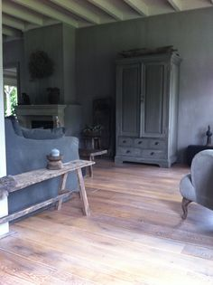 Grey rustic living space.