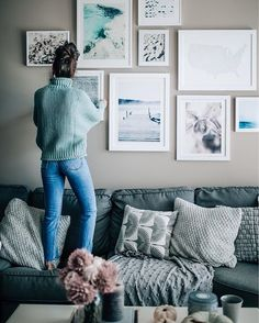 cool tones, cozy blankets and sweaters, grey pillows, apartment decor, fall and winter style