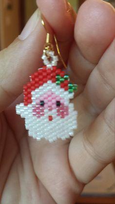 santa bead earrings by BeadsofNorth on Etsy
