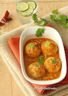 Aloo Kofta / Potato dumplings in tangy tomato-yogurt sauce