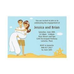 Cute bride and groom beach bridal shower invites