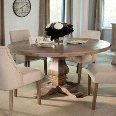 Haddie Light Tone Round Table Amp 4 Upholstered Chairs In 2019 Bella Dining Room Round