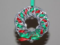 Upcycled Christmas Wreath Ornaments For the Tree- Red and green by PopTopTastic