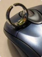 Using a plastic ring on a mouse can help those with motor difficulties use a computer mouse. These can be store bought or as a DIY project using a regular computer mouse, hot glue and a plastic or metal inexpensive ring. The computer mouse can be taken and used on any computer with a USB or computer mouse plug.