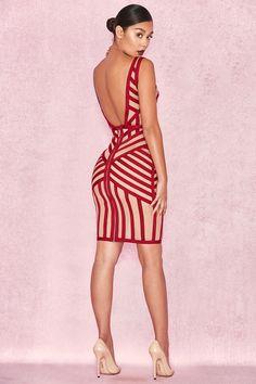 Clothing : Bandage Dresses : 'Genevieve' Crimson Bandage and Beige Mesh Dress