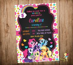 My Little Pony Birthday Invitation, My Little Pony party Invitation, My Little Pony Chalkboard Invitation, Do-It-Yourself Digital File.