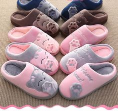 Cartoon Cat Shoes Non-slip Soft Winter Women Home Slippers Faux Fur Slides, Cute Slippers, Winter Slippers, Cat Shoes, Diy Tumblr, Cat Paws, Types Of Shoes, Womens Slippers, Fashion Shoes