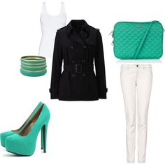 Turquoise, my fav colour mixed with my two loves: a tailored jacket a sexy/trashy heel!