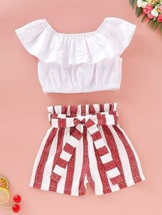 Teenage Girl Outfits, Crop Top Outfits, Girls Fashion Clothes, Kids Outfits Girls, Summer Fashion Outfits, Cute Outfits For Kids, Cute Summer Outfits, Mode Outfits, Cute Casual Outfits
