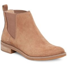 Lucky Brand Noahh Slip-On Leather Ankle Boots ($84) ❤ liked on Polyvore featuring shoes, boots, ankle booties, sesame, lucky brand bootie, short leather boots, short boots, bootie boots and leather bootie